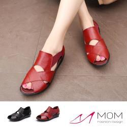 【MOM】真皮交叉縷空拼接彈力織帶軟底低跟涼鞋(2色任選)