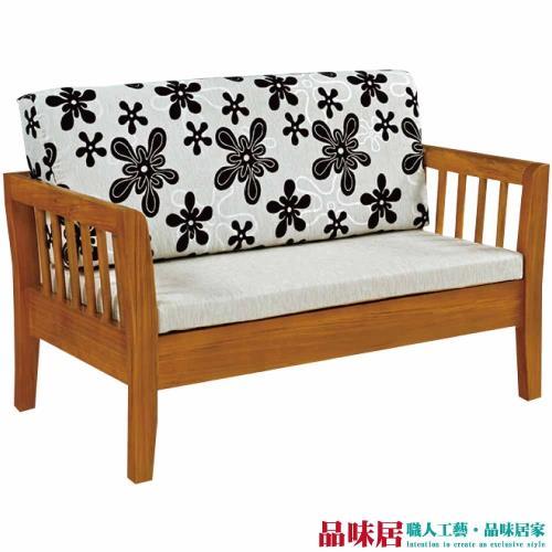 品味居-麥尼 典雅風亞麻布實木雙人座沙發椅