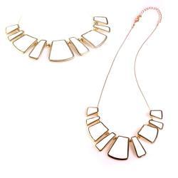 摩達客-幾何白寶石金色項鍊
