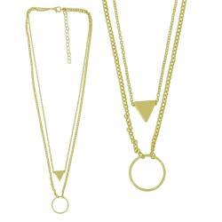 摩達客-三角與圓雙層金色項鍊