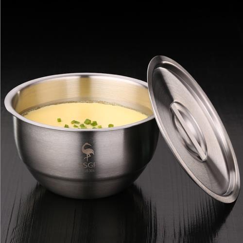 PUSH!餐具加厚304不鏽鋼碗帶蓋碗蒸蛋泡麵碗蒸飯燉湯盅碗帶蓋E129/