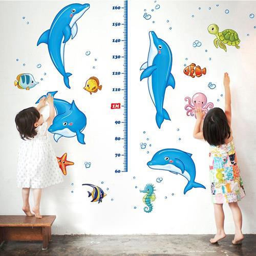 時尚壁貼 - 海豚身高貼
