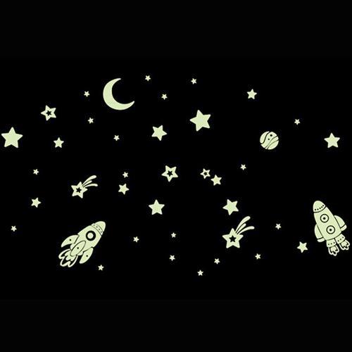 時尚壁貼 - 夜光太空火箭