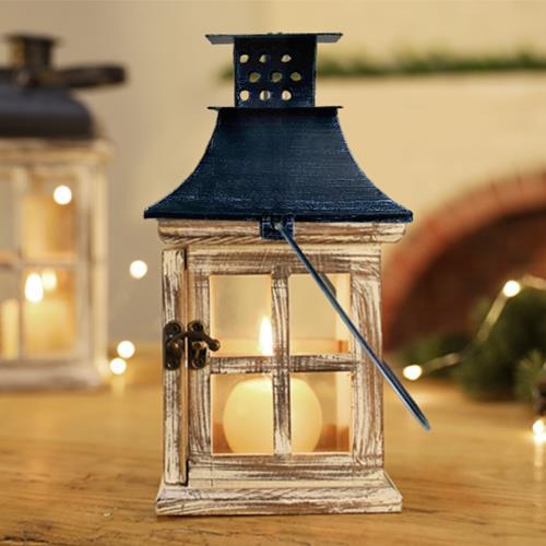 Meric Garden-北歐復古創意木質風燈/防風燭台