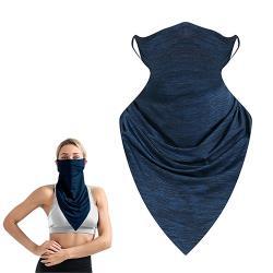 活力揚邑 冰絲涼感防曬抗UV吸濕排汗三角頭巾面罩-藍黑