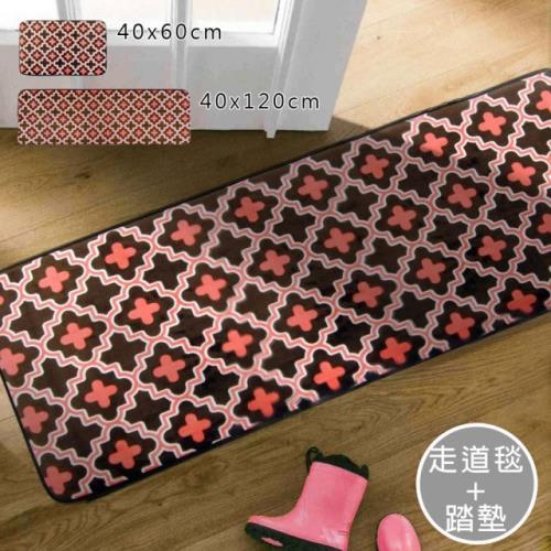 范登伯格-柔軟壓抗止滑走道墊 床邊毯+踏墊_40x120+40x60cm 三葉草