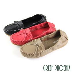 GREEN PHOENIX 綁帶蝴蝶結束口平底全真皮莫卡辛豆豆鞋U53-20A03