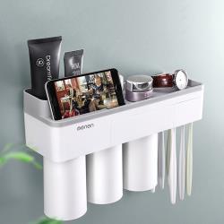時尚品味高質感磁吸式牙刷架+送擠牙膏器  防掉/防水/防潮_ 置物收納好幫手
