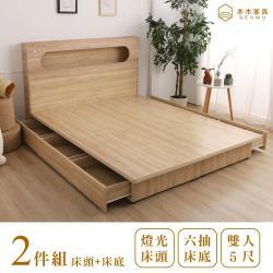 本木 洛根 北歐燈光插座橢圓造型房間二件組-雙人5尺 床頭+六抽床底(含尾片)