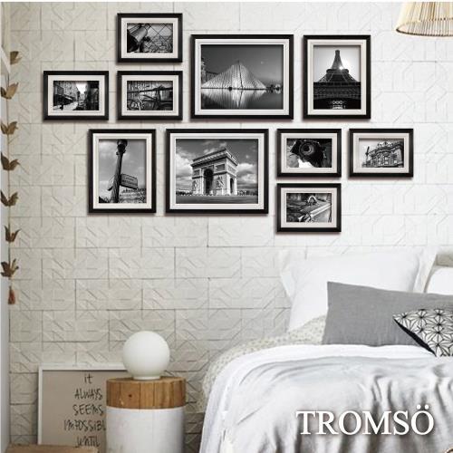 TROMSO-巴黎撞色木紋相框牆10框組-黑