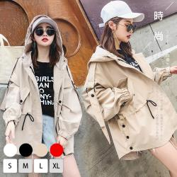 【KISSDIAMOND】韓系中長款寬鬆時尚個性風衣外套-KD-MHJ7260(百搭/時尚/街頭/4色S-XL)