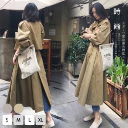 【KISSDIAMOND】英倫時尚學院風長版顯瘦風衣外套-KD-1911(初秋/穿搭/時尚/防風/2色S-XL)