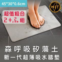森呼吸矽藻土-超值2+2組-新一代超薄吸水踏墊-礦灰-精緻版_45x30x0.6cm