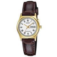 【CASIO】經典金英倫復古指針皮帶女錶-羅馬白面(LTP-V006GL-7B)