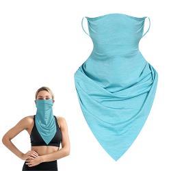 活力揚邑 冰絲涼感防曬抗UV吸濕排汗三角頭巾面罩-灰藍