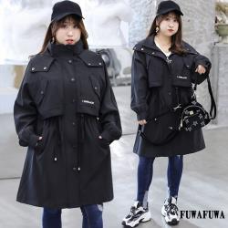 (FUWAFUWA)- -加大尺碼休閒款風衣外套