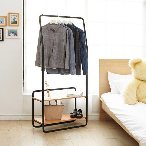 HR安室家 設計款雙木板單桿掛衣架-LS186