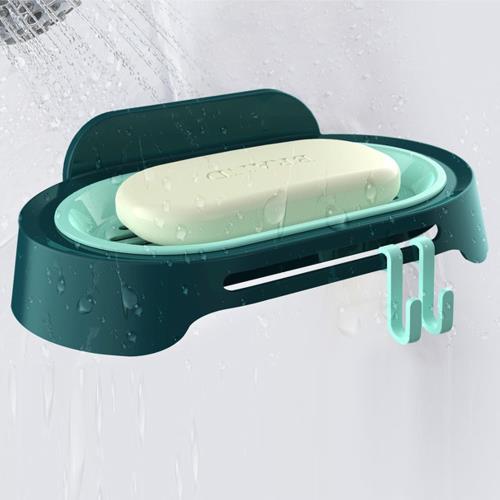 撞色雙層橫線瀝水附掛勾肥皂盒(1入)