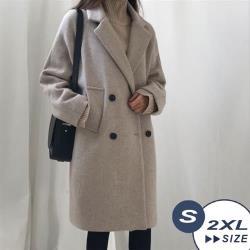 【LANNI 藍尼】韓系風淑女中長版毛呢大衣-2色(S-2XL)