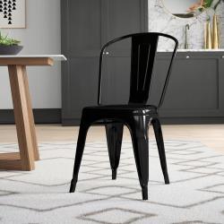 E-home 四入組-Sidney希德尼工業風金屬高背餐椅 6色可選