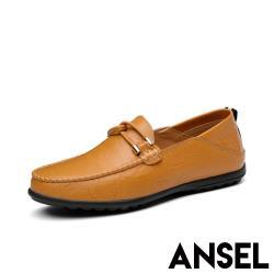 【Ansel】兩穿法真皮舒適手工縫線一字勾繩造型休閒豆豆鞋 黃