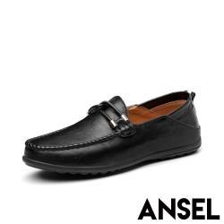 【Ansel】兩穿法真皮舒適手工縫線一字勾繩造型休閒豆豆鞋 黑