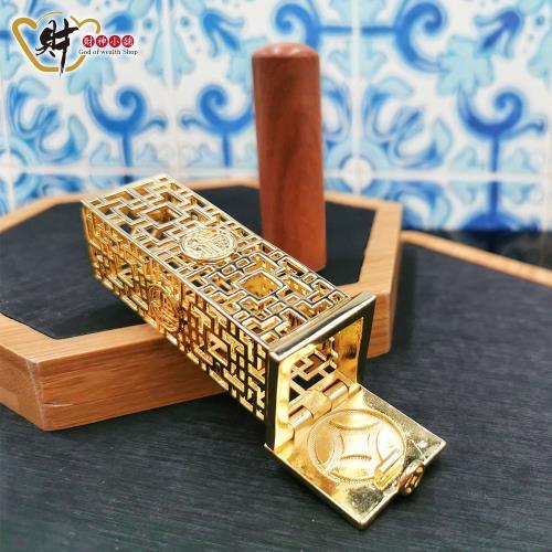 財神小舖-福運來-招財印章寶盒-方銅-六分(含開光)