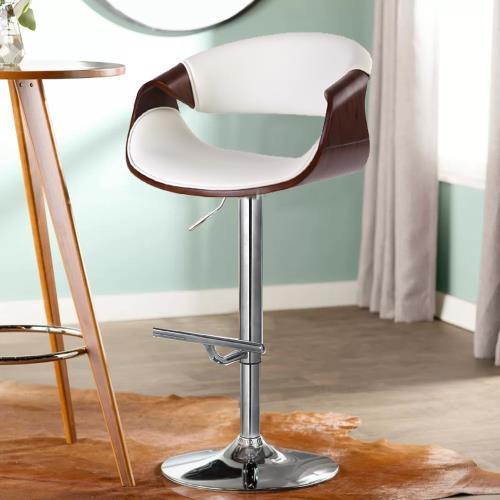 E-home Tyrel泰瑞爾可調式曲木吧檯椅 白色