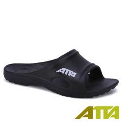【ATTA】 足弓均壓簡約休閒拖鞋-黑色