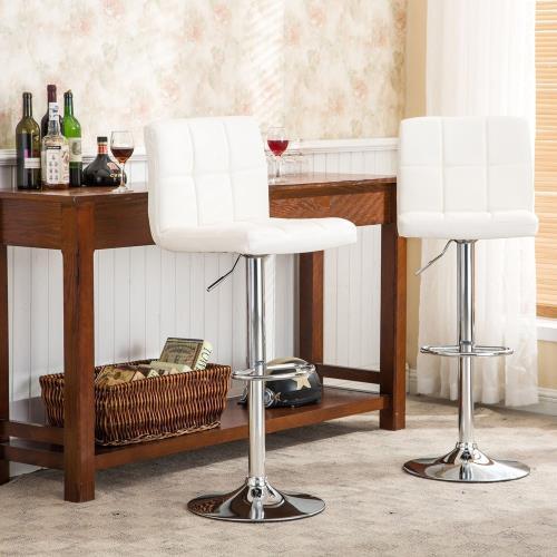 E-home Lattice拉緹絲方格吧檯椅 白色