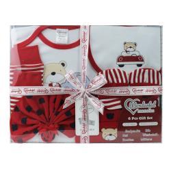 美國Elegant kids彌月禮盒-紅色噗噗熊6件式彌月禮盒