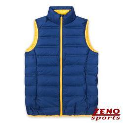 ZENO 男款極輕暖無縫羽絨背心‧軍藍