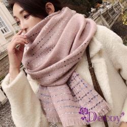 【Decoy】點點純色*流蘇加大保暖披肩圍巾/粉