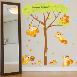 【半島良品】DIY無痕創意牆貼/壁貼-松鼠之家 XL9009AB雙拼