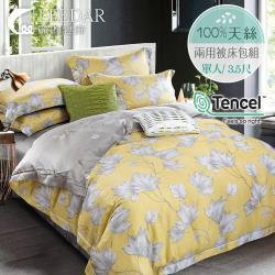 LEEDAR 麗的  洛西黃  頂級100%天絲單人床包 雙人兩用被床包組
