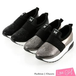 Love Girl 閃耀鑽飾拼接束帶輕量厚底內增高休閒鞋