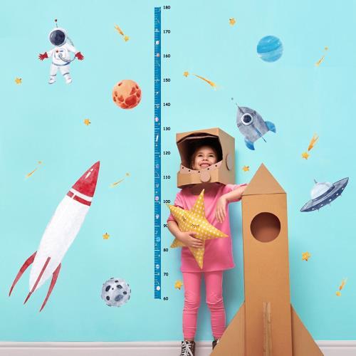 時尚壁貼 - 太空火箭身高貼