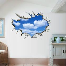 【半島良品】DIY無痕創意牆貼/壁貼-3D藍天白雲 AY9253大