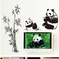 【半島良品】DIY無痕創意牆貼/壁貼-竹林熊貓 AY9051大