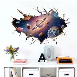 【半島良品】DIY無痕創意牆貼/壁貼-3D夢幻太空 SK9066B大