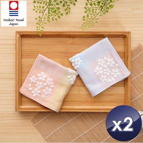 藤高今治 日本銷售第一100%純棉今治認證櫻花系列方巾-2入組