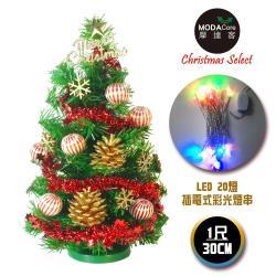 摩達客 台灣製迷你1呎/1尺(30cm)裝飾綠色聖誕樹(木質雪花系)+LED20燈彩光插電式*1(免組裝)本島免運費