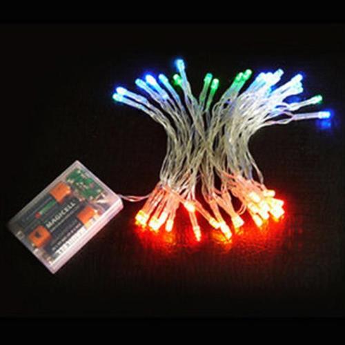 聖誕燈 LED燈串50燈電池燈 (四彩色光/透明線) (高亮度又環保)