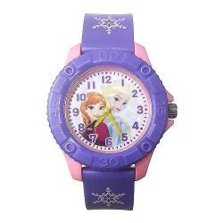 迪士尼冰雪奇緣安娜艾莎 齒輪款膠錶-紫