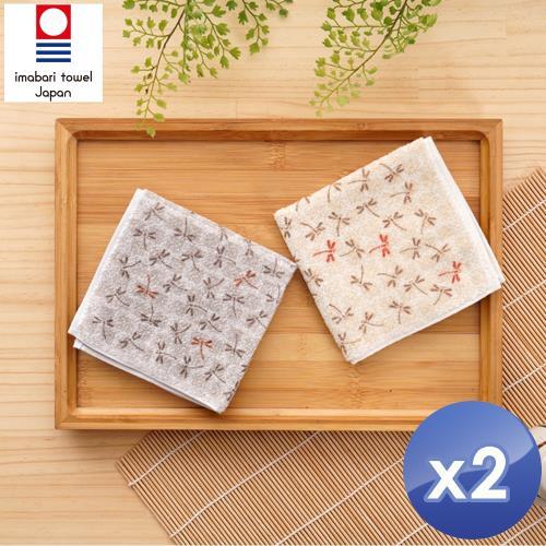 藤高今治 日本銷售第一100%純棉今治認證蜻蜓系列方巾-2入組