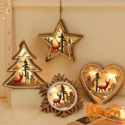 iSFun 聖誕風貌 手工木製光影可掛造型夜燈 多款可選