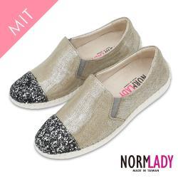 【N-lady諾蕾蒂】閃耀珠光亮鑽併接真皮球囊氣墊懶人鞋