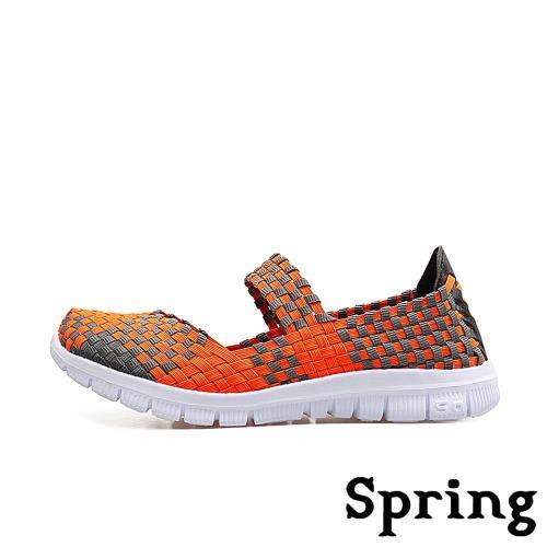 【SPRING】超輕量釋壓七彩繽紛編織健走娃娃鞋