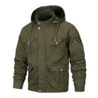 【米蘭精品】軍裝外套連帽夾克-春秋薄款多口袋純棉男外套2色73wn10