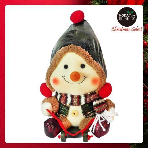 摩達客 聖誕大頭雪人玩偶擺飾(綠色聖誕帽款)
